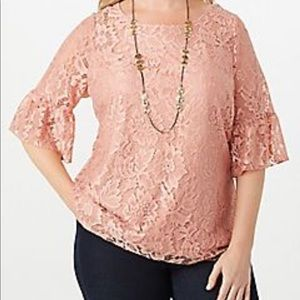 Dress Barn Plus size Lace Flared Sleeve Top 2X